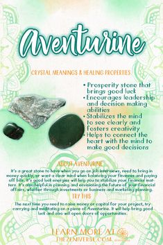 Aventurine: - Prosperity stone that brings good luck - Encourages leadership and decision making abilities - Stabilizes the mind to see clearly and fosters creativity Find out more about Aventurine and see tumbled stones in the shop.