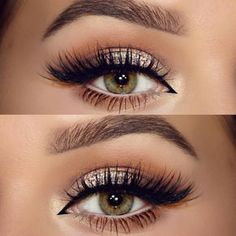 make up guide neutral, champagne glitter, softly shaded crease in warm brown, cream on the lower waterline, black winged liner extended into inner corner Pretty Makeup, Love Makeup, Makeup Inspo, Makeup Inspiration, Makeup Ideas, Buy Makeup, Makeup Looks For Red Dress, Neutral Eye Makeup, Makeup 2018