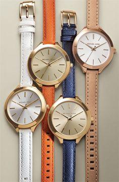 Michael Kors 'Slim Runway' Leather Strap Watch, 42mm