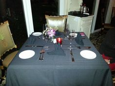 Table is set and ready for diners.