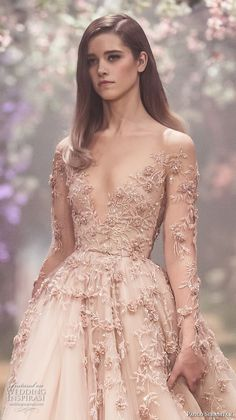 paolo sebastian spring 2018 couture long sleeves illusion jewel v neck heavily embellished bodice romantic blush color a  line wedding dress (2) zv -- Paolo Sebastian Spring 2018 Couture Collection