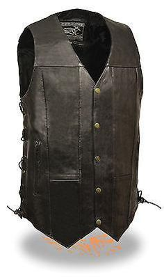 """Men's Motorcycle Blk 10 Pocket Tall Extra 3"""" Long leather vest with 2 gun pockets"""