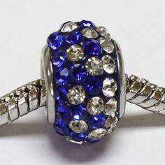 beads di color blu con strass cristallo