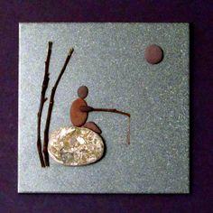 3D Pebble Art on Ceramic Tile Gone Fishing by BeachWalkCreationsCA, $48.00