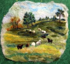 Green Pastures Large Thyme Tile Needle Felting Kit by FiberThyme