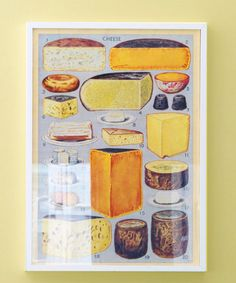 Based on a vintage illustration, this homage to fromage features 20 types of cheese. Poster, $4.50, Cavallini Papers & Co. Frame, $28, IKEA.  - GoodHousekeeping.com