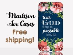 With God All Things Are Possible Matthew 19:26 Christian Bible Verse Flowers Blue Galaxy Edge Note 2 3 S6 S7 S3 iPhone 5 6 SE 6s Phone Case
