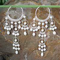 White Ruffled Hoops from @NOVICA, They help #artisans succeed worldwide.