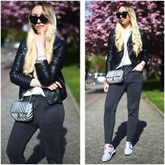 Vanessa Kandzia - Zara Joggers, Bullboxer Sneakers, Zara Leather Jacket - GLITTER SNEAKERS