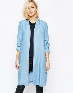 Long blazer in chambray