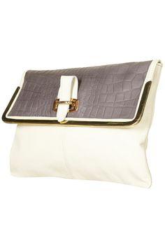 Croc Metal Bar clutch bag from Topshop