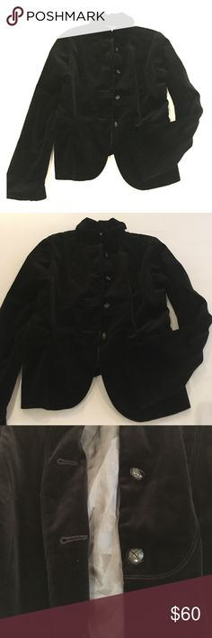 J Crew black cotton valor blazer Cool design for this velvety blazer. Black and classy. Cute sleeves. Fits a 4/6 J. Crew Jackets & Coats Blazers
