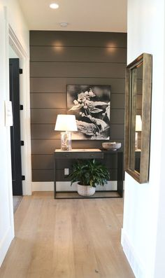 2019 Home Design Trends Accent wall color is Benjamin Moore Kendall Charcoal. Home Interior, Interior Decorating, Interior Design, Interior Ideas, Home Renovation, Home Remodeling, Flur Design, Accent Wall Colors, Brown Accent Wall