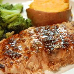 "Balsamic-Glazed Salmon Fillets | ""One word - DELICIOUS!!! The flavors mixed VERY WELL together! I followed the recipe almost exactly; I used a lite balsamic vinaigrette b/c that's all I had on hand. Thank you very much for this recipe! My family loved it!"""