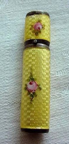 Sterling Silver Yellow Enamel Guilloche Lipstick with Hand-Painted Roses on both Sides.  Click on image for more photos.
