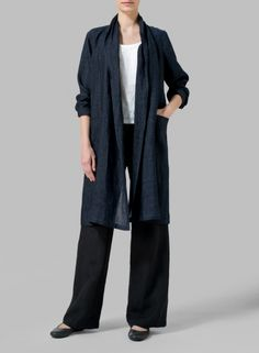 VIVID LINEN - Linen Uneven Hem Jacket - Add a touch of elegance, simplicity to your outerwear with this shawl collar, duster-length jacket.
