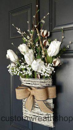 Cotton Wreath,Farmhouse Wall Decor,Tulip Wreath,Front Door B… Front Door Colors, Front Door Decor, Wreaths For Front Door, Door Wreaths, Grapevine Wreath, Front Doors, Farmhouse Wall Decor, Rustic Decor, Rustic Wood