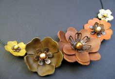 Leather Flower Choker by emikokellerdesigns on Etsy