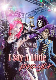 Forsideillustration til I Say A Little Prayer, et scenarie til Fastaval 2014. Et scenarie om dans, disco og død.