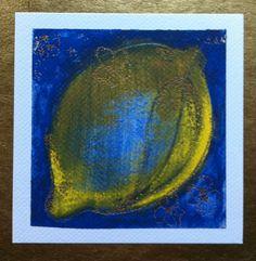 Lemon Limited edition print, gilded , 12cm x 12cm by Cassandra Wainhouse