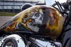 Page 4 ›› Category: Gas Tanks, Post: Totally Rad Chopper Tank Paint end more at Totally Rad Choppers. Skull Artwork, Skull Painting, Air Brush Painting, Custom Motorcycle Paint Jobs, Custom Paint Jobs, Motorcycle Tank, Motorcycle Trailer, Motorcycle Quotes, Custom Tanks