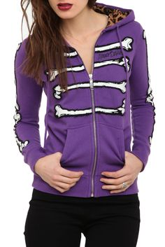 This purple hoodie features bone patches on the front and sleeves with a leopard lined hood.