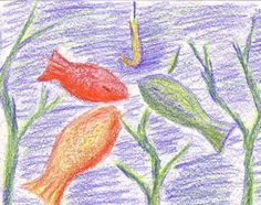 3 Little Fish. Based on a Danish Childrens Song. 10 minute drawing with Stockmar wax colors using only prime colors. Crayon Drawings, Chalk Drawings, Art Drawings, Chalkboard Drawings, Little Fish, Nature Journal, Drawing Techniques, Art Lessons, Paint Colors