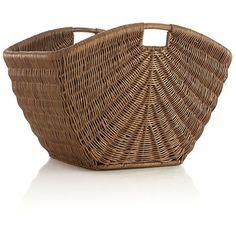 Crate & Barrel Sunburst Storage Basket ($130) via Polyvore featuring home, home decor, small item storage, baskets, decor, interior, laatikot ja korit, crate and barrel baskets, handmade baskets and woven basket