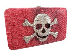 Snakeskin Textured Rhinestone Skull Wallet Checkbook -- To view further for this item, visit the image link.