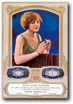 Elegant Hafis Watch Co. advertisement featuring ladies' platinum, diamond and sapphire ribbon wristlet watches, circa '20s.