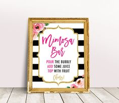 Mimosa Bar Sign, Kate Bridal Shower Printable, Spade Shower Party, Stripes Shower Decorations, Kate Inspired Baby Shower Bar Signage
