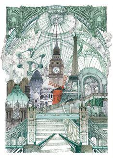 Lucille Clerc: 'London Paris Brussels', screen print, 56 x 76cm