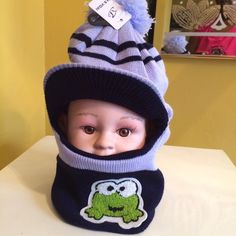 """Kids Mask Winter hat/hood/mask ....Pom-pom kids winter hat ........    ❌❌SORRY NO TRADE❌❌...  Price is negotiable within reason.  Make me a reasonable offer via """"OFFER"""" the button. Thank you.  Accessories Hats"""