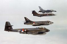 Some of the fighter aircraft used by the RNLAF/KLu: Gloster Meteor, Hawker Hunter, Lockheed Starfighter and General Dynamics (Lockheed) Fighting Falcon Military Jets, Military Aircraft, Fighter Aircraft, Fighter Jets, Royal Dutch, Gloster Meteor, Military Flights, Air Machine, Aircraft Photos