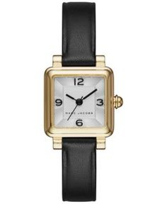 530fa873730e Marc Jacobs Women s Black Leather Square 20x20mm MJ1545   Reviews - Watches  - Jewelry   Watches - Macy s