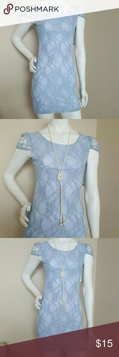 Blue lace casual or coctail dress Junior sz Small Classy blue lacey dress sapphire dolls Dresses Mini