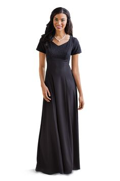 Black, Short sleeve concert dress for choirs & orchestras with beaded bodice & solid crepe skirt. Concert Dresses, Crepe Skirts, Princess Style, Dresses For Work, Formal Dresses, Choir, Skirt Fashion, Bodice, Short Sleeve Dresses