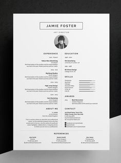 Professional Resume/CV - Jamie - Includes FREE Matching Business Card Design Introducing 'Jamie', a beautiful vertical design with a small photo. Including a single page resume/cv and cover letter. Cv Template Word, Resume Design Template, Cover Letter Template, Letter Templates, Resume Templates, Free Cv Template, Cover Letters, Design Templates, Creative Cv Template