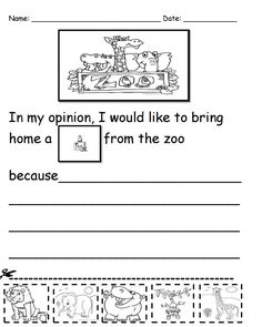 What would you bring home from the zoo? Kindergarten writing prompt free download
