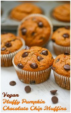 Perfect Pumpkin Chocolate Chip Muffins! Fluffy & Moist! | Daily Vegan Meal Vegan Dessert Recipes, Cake Recipes, Party Recipes, Delicious Recipes, Baking Recipes, Best Pumpkin Muffins, Pumpkin Chocolate Chip Muffins, Pumpkin Spice Syrup, Vegan Banana Bread