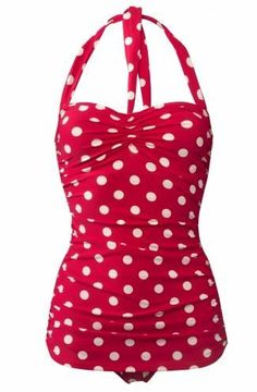 Esther Williams Size 14 50s Pin Up Red Polka Dot Swimsuit Retro Vintage Modcloth | eBay