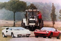 """If you ARE wondering """"Why is there a tractor behind the Countach and the Miura?"""" Then you should be wondering: """"Why are there 2 beautiful vehicles in front of that one-of-a-kind Lamborghini?"""" The fact is: Lamborghini started out as a tractor manufacturer."""