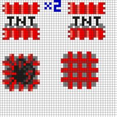 3D Minecraft TNT Perler Bead Pattern                              …