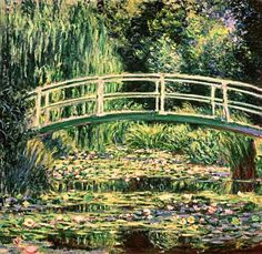 Claude Monet - Bridge in Monets garden with white waterlilies