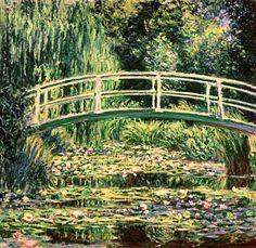 Claude Monet - Bridge in Monets garden with white waterlilies
