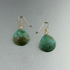 Green Patinated Copper Earrings
