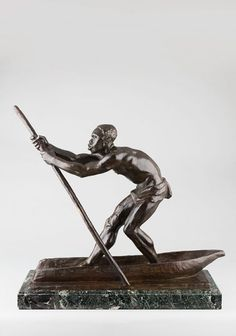 DUPAGNE Arthur, sculpture 20e en bronze. Homme à la pirogue