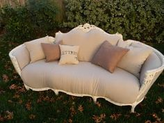 Who'd like to have a seat with me on this burlap/linen couch?