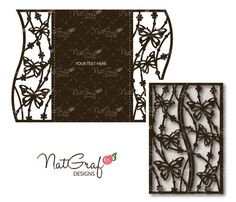 SVG file digital - Butterflie Card - invite CARD - svg butterflies card - laser cut de NatGrafDesigns en Etsy