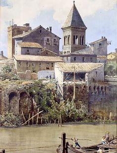 Ettore Roesler Franz - Avanzi delle case degli Anguillara sul Tevere